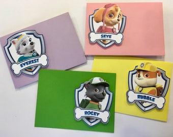 Paw Patrol Party Envelopes, Paw Patrol Embellished Lined Envelopes, Paw Patrol Lined Party Envelopes