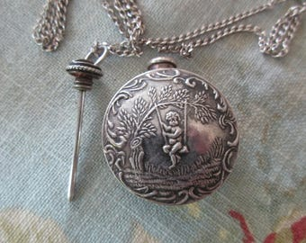 """antique sterling silver perfume bottle necklace - long, 28"""" sterling chain, 925"""