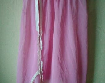 1960's shortie nightgown and pantie set small medium rosy pink with lace