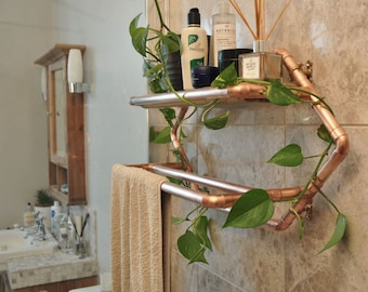 Copper pipe towel rail with reclaimed wooden shelf