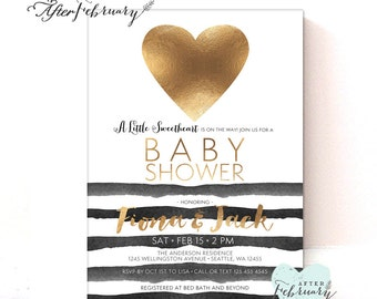 Sweetheart Baby Shower Valentine Baby Shower Invitation Modern Chic Black Gold Watercolor Black Stripes // Printable OR Printed No.1022BABY