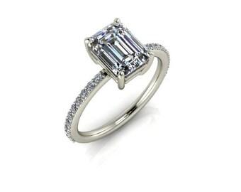 Emerald Cut Moissanite Engagement Ring, 1.75 Carat Emerald Cut Forever One Moissanite, 14k White Gold, Contemporary Engagement Ring
