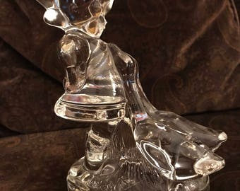 L.E. Smith Vintage Clear Glass Girl and Geese