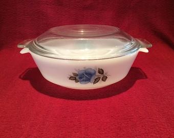 Phoenix Opalware Blue Rose Pattern Casserole Dish 1 pint