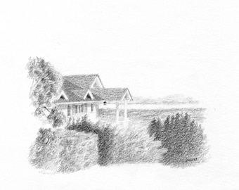 ORIGINAL House Above the Bay - Sketch