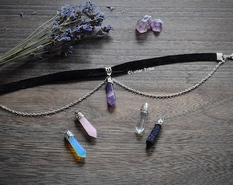 black velvet choker necklace, amethyst necklace, rose quartz choker, choker with amethyst, opalite, onyx, stainless steel necklace, blogger