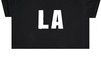 LA Crop Top T Shirt Tee Womens Girl Funny Fun Tumblr Hipster Swag Grunge Kale Goth Punk New Retro Vtg Fashion Indie Boho City Summer USA
