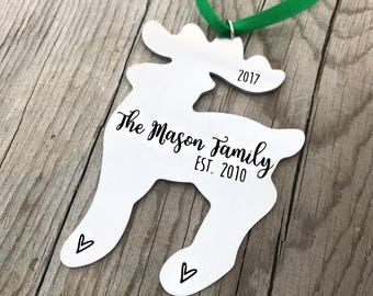 Family Christmas Ornament - Personalized Ornament - EST. Family Ornament - Reindeer Ornament - Christmas Gift - Couple Ornament - 1433