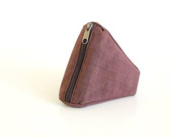 Organic cotton pouch, brown pouch, coin purse, mini organizer, zipper pouch, mini bag, pouch bag, key purse - The Brown Sushi Pouch