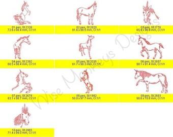 Redwork Unicorns machine embroidery designs set of 10