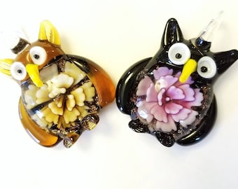 Amber or Purple Large Glass Owl Pendant - Your Choice