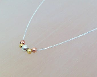 Gold Bead Necklace Tiny Gold Ball Necklace Minimalist Gold
