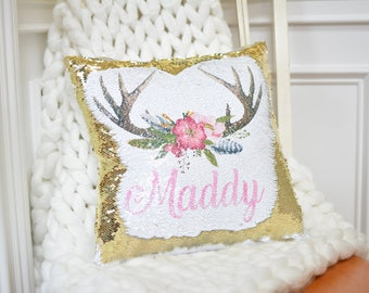 mermaid sequins pillow, antlers, reversible sequin pillow, rose gold, personalized pillow, teen decor, Valentines Day, Valentines Present