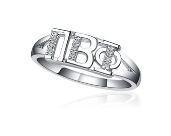 Pi Beta Phi Ring - Horizontal Design Sterling Silver (PBP-R001)