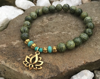 Stretch Bracelet in Russian green Serpentine Gemstone with Lotus flower gold charm, yoga bracelet