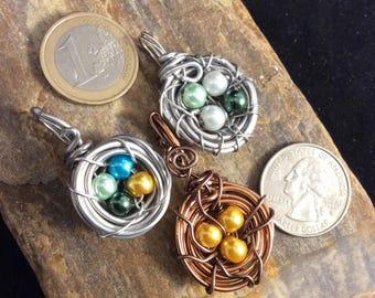Bird Nest Necklace, Custom Gift for Grandma, Bird Nest Pendant, Silver Nest Pendant, Customized Mothers Day Gift, Baby Shower, Nest Jewelry