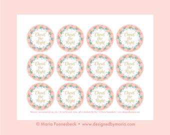 """Pink Chews the Right CTR Favor Tag Printable: LDS Primary or LDS Girl Baptism 2.25"""" circle tags -- Decoration for Goodie Bags or Bubble Gum"""
