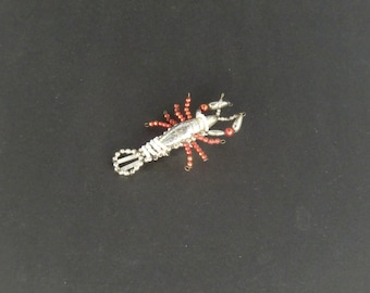 Czech Bohemian Christmas Ornament Beaded Crayfish