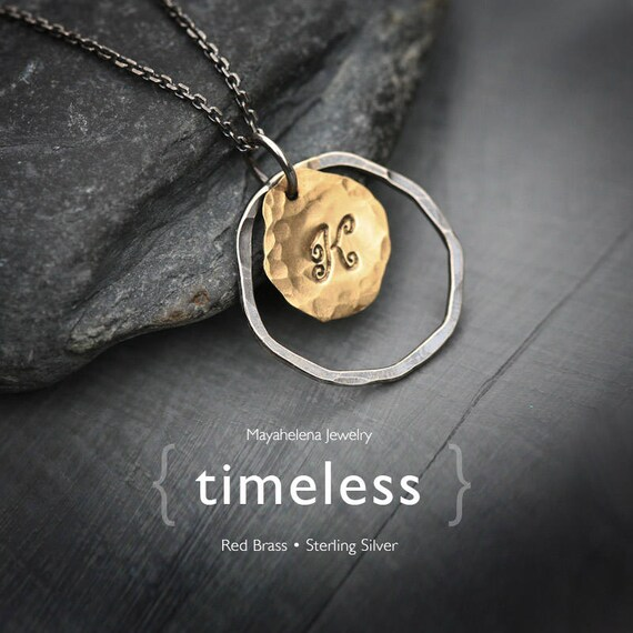 Timeless - Monogram Brass Tag Charm Sterling Silver Mecklace