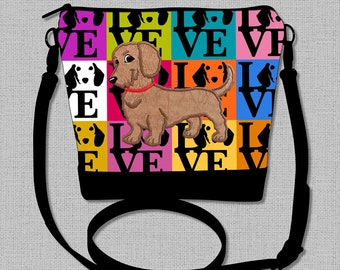 Wire Hair Dachshund Cross Body Bag with a Flirty Red/Brown Wire Hair Dachshund  - Made to Order