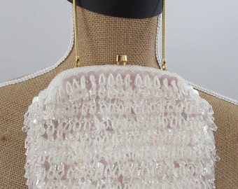 Bags & Purses, Vintage Evening Bag, Beaded Purse, White Beaded Bag, Gatsby Inspired Bag, Simpson's