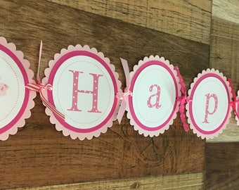 READY to SHIP Cupcakes & Polka Dots Collection Large Happy 1st Birthday Banner with Pink Cupcakes