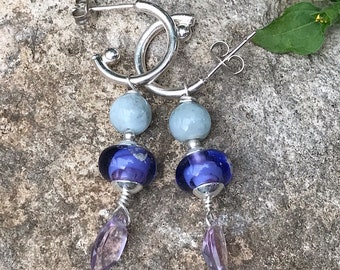 Handmade Lampwork Sterling Amethyst Aqua Silver Hoop Dangle Earrings- Bastet's Beads