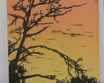 Tree Silhouette with color gradient relief linocut hand-pulled print orange and yellow