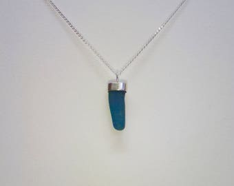 Blue sea glass necklace, genuine sea glass pendant necklace, bezel set sea glass, beach glass necklace, sterling silver, gift for her. Blue.