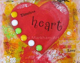 Timeless Heart ~ Mixed Media Collage, Mixed Media Original Art, Wall Art, Canvas