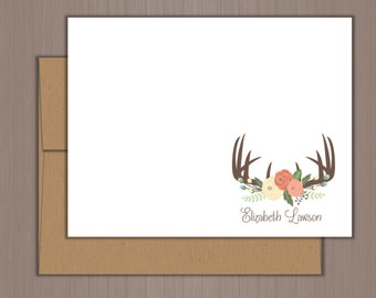 Personalized Note Card Set, Antler Note Cards, Flat Note Cards, Personalized Stationery, Personalized Stationary, Thank you Notes, Deer