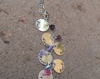 LIMITED TIME SALE Cascade Mothers or Family Necklace, Solid Sterling Silver with Swarovski Crystal Birthstones, Font Choices, 1 to 10 Name D