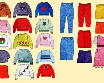 More Clothes for E's Friends Paper Doll Machine Embroidery Designs