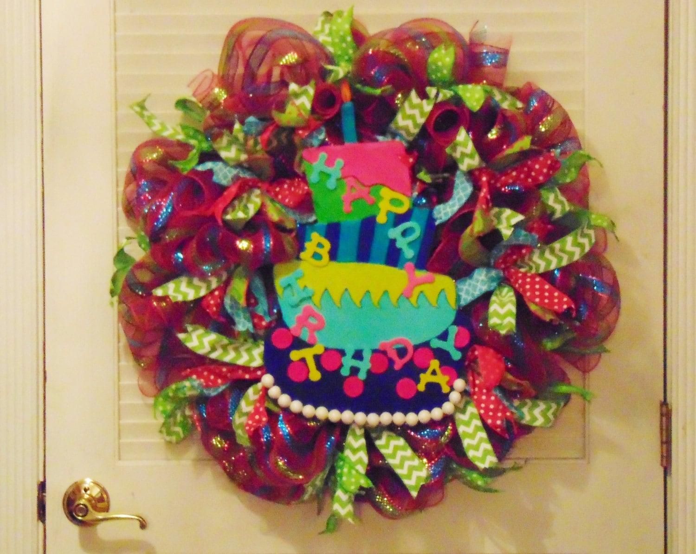 Alles Gute zum Geburtstag-Kranz Poly Deko Deco Mesh Kranz