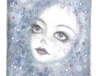 Miniature original watercolour painting ~ dreamy space girl, big eye, lowbrow art