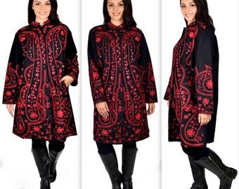 Hand embroidered wool coat, Women Wool Coat, Winter wool coat. Plus size  coat
