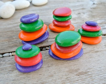 Pebble Sculptures, Colorful Pebbles, Hand-Painted Stones, Stone Sculptures, Rainbow