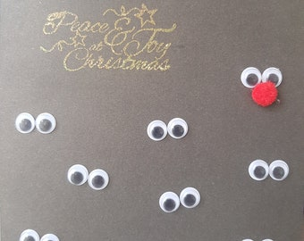 Handmade Christmas Card..... Reindeers in the dark