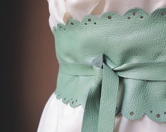 My favourite - Handmade Cut Out Mint Seafoam Green Italian Real Leather Obi Belt - Made to Order