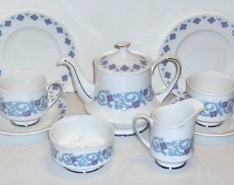 Paragon Tea For Two Monaco Pattern Tea Set Bone China By Appointment of her Majesty Made In England Free Standard Shipping in the U.S.