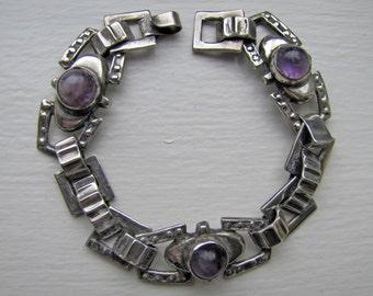 Art Deco Sterling Silver Amethyst Bracelet. 1940s Tank Bracelet.  Taxco Mexico Silver Bracelet.  Vintage Retro Moderne Mexican Jewelry.