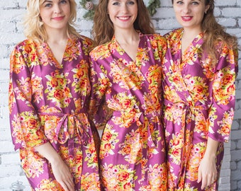 Eggplant Floral Posy Silk Bridesmaids robes | Getting ready robes, Satin Robes, Bridesmaids gift, Bridesmaid Robes, Silky Robes