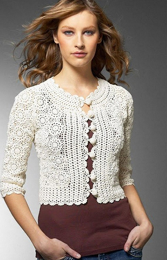 Crochet vintage jacket PATTERN detailed tutorial for every