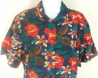 Talbots 100% silk Hawaiian print skirt and top outfit size 10 bust 40in.