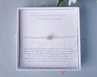 Aquamarine choker, chain choker, dainty choker, silver choker ,boho choker, march birthstone, healing jewellery, inspirational jewellery