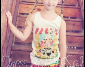 Custom Lemonade stand tank top or t shirt with your childs name  18 24 2 3 4 5 6 7 8 9 10