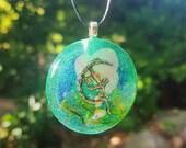 Fairy Real Flower Moss Necklace Bohemian Jewelry Glitter Resin Pendant Nature Charm Moon Star Sparkles Boho Fantasy