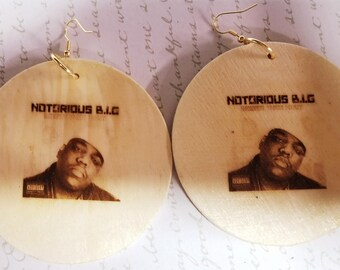 Wooden Reversible Notorious B.I.G. CUSTOM EARRINGS