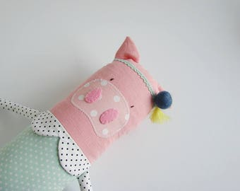 Mini cuddler pig| Handmade creature| Pig plush toy| Kids toy| Birthday Gift/ Baby shower gift/ Nursery decor/Soft toy/ Pink Pig stuffed toy