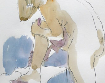 Woman leaning. Watercolor